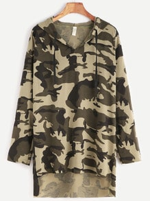 Camo Print Drop Shoulder High Low Drawstring Hooded T-shirt