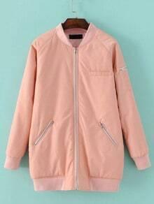 Pink Raglan Sleeve Zipper Pocket Long Baseball Jacket