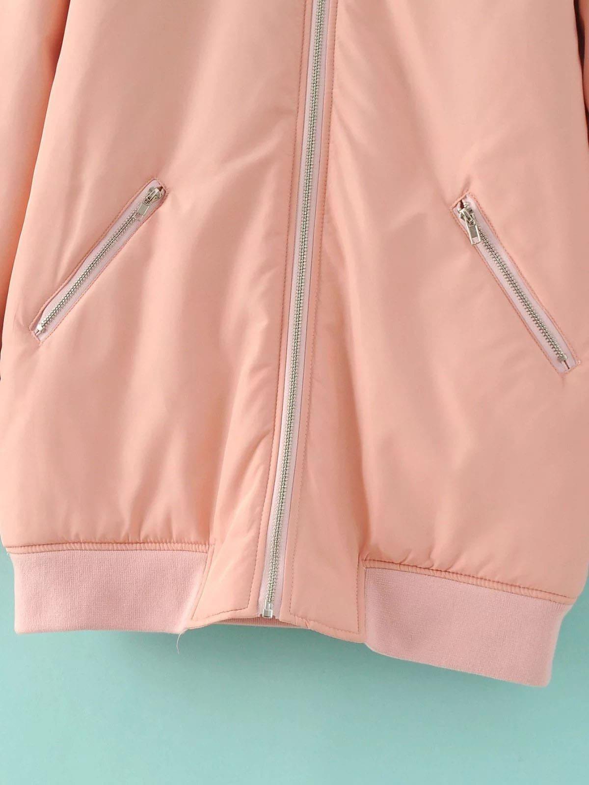 veste de base ball long avec zip et manche raglan poche rose french romwe. Black Bedroom Furniture Sets. Home Design Ideas