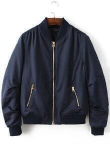 Navy Stand Collar Zipper Pocket Padded Jacket