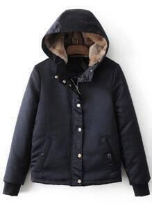 Navy Hidden Zip Hooded Padded Jacket