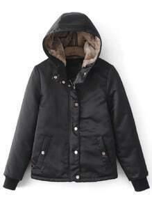 Black Hidden Zip Hooded Padded Jacket