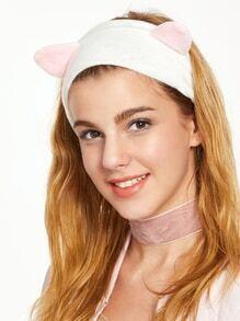 Diadema de terciopelo elástica con oreja de gato