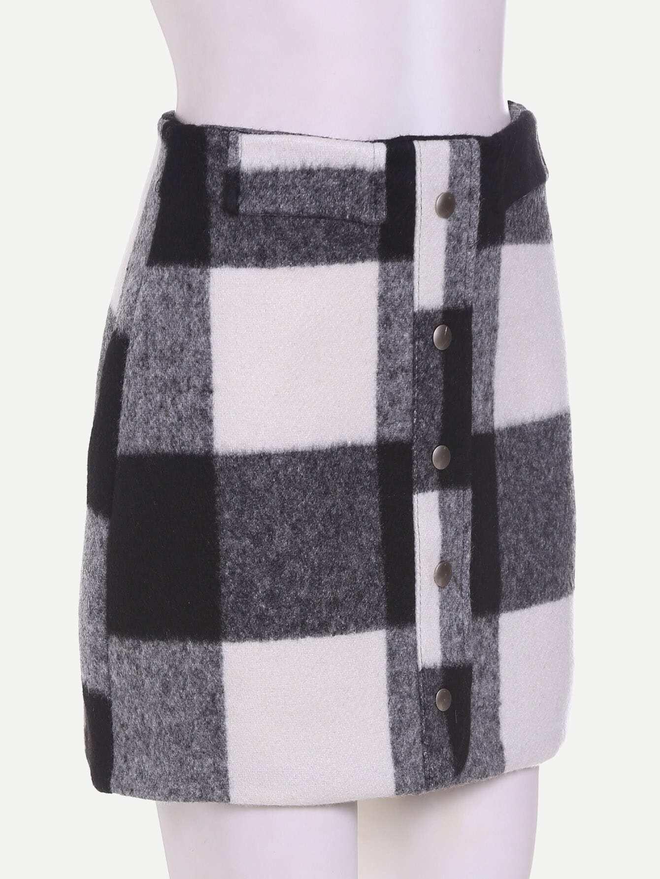 jupe moulant cossais seul boutonnage avec zipp french romwe. Black Bedroom Furniture Sets. Home Design Ideas