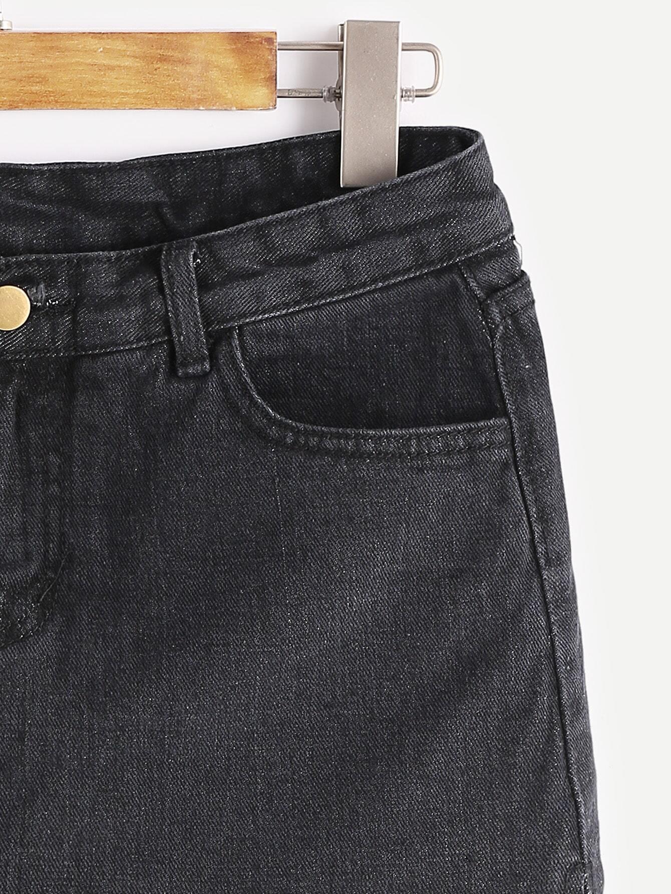 a jupe en jean ourlet d chir noir french romwe. Black Bedroom Furniture Sets. Home Design Ideas