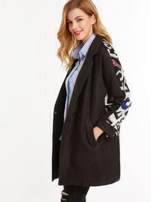 Black Contrast Letter Print Single Button Coat