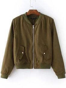 Army Green Zipper Up Bomber Jacket