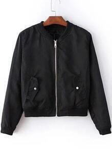 Black Zipper Up Bomber Jacket