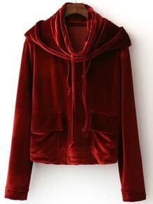 Burgundy Hooded Velvet Sweatshirt With Pocket