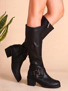 Black Buckled PU Chunky Heel Tall Boots