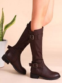 Brown Double Buckled PU Full Zip Tall Boots