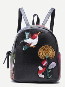 Black Sparrow and Chrysanthemum Embroidered PU Backpack