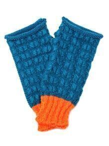 Blue And Orange Knit Thermal Long Fingerless Gloves