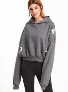 Dark Grey Letter Print Batwing Sleeve Hooded Sweatshirt