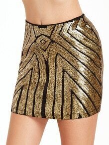 Gold Sequin Embellished Bodycon Skirt