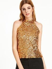 Gold Keyhole Back Sequined Top