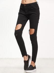 Black Distressed Frayed Hem Skinny Jeans