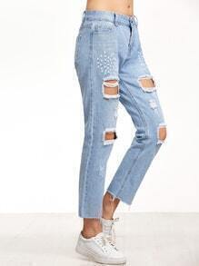 Light Blue Distressed Frayed Hem Jeans