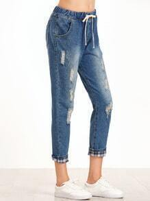 Blue Bleached Ripped Tie Waist Rolled Hem Jeans