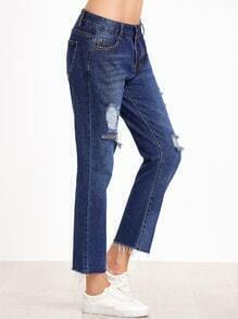 Deep Blue Ripped Frayed Hem Jeans