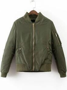 Army Green Ribbed Trim Zipper Up Quilted Jacket