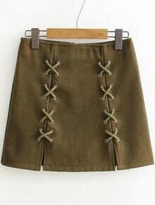 Army Green Lace Up Detail Back Zipper Skirt