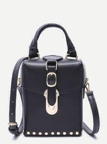 Black Faux Leather Buckle Strap Studded Boxy Shoulder Bag