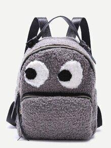 Grey Little Monster Design Zip Front Tweed Backpack
