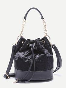 Black PU Trim Drawstring Velvet Bucket Bag