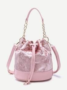 Pink PU Trim Drawstring Velvet Bucket Bag