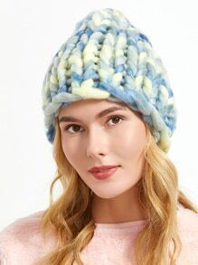 Blue Handmade Knitted Coarse Line Hat