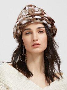 Coffee Handmade Knitted Coarse Line Hat