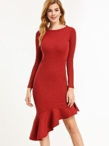 Burgundy Ruffle Hem Ribbed Knit Sheath Dress