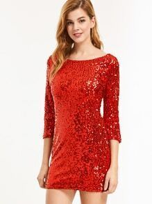 Red Sequin V Back Bodycon Dress