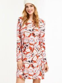 Santa Claus Print Shift Dress