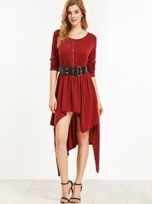 Burgundy Asymmetrical Shift Tee Dress