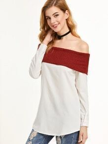 Contrast Off The Shoulder Fold Over Ribbed Top