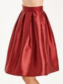 Red Box Pleated Zipper Back Skirt