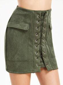 Lace Up Eyelet Dual Pockets Skirt