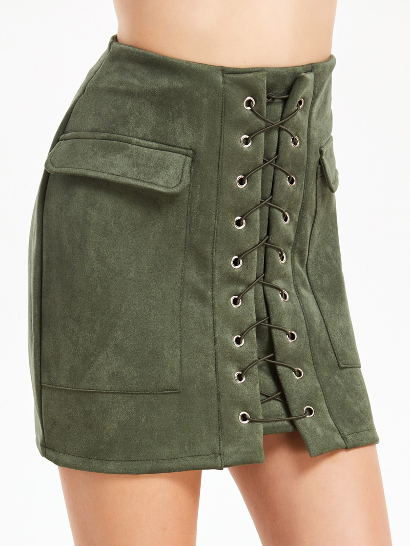 d44f01a7fd3c4 Lace Up Eyelet Dual Pockets Skirt