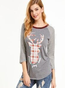Contrast Trim Deer Print Striped Raglan Sleeve T-shirt