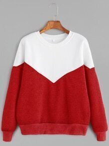 Color Block Drop Shoulder Seam Sweatshirt