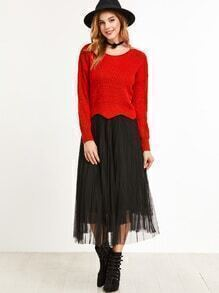 Red Wave Hem Drop Shoulder Sweater