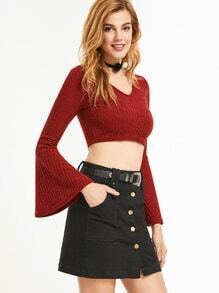 Burgundy V Neck Bell Sleeve Crop Sweater