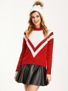 Red Contrast Raglan Sleeve Chevron Pattern Sweater