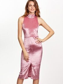 Pink High Neck Split Front Velvet Pencil Dress
