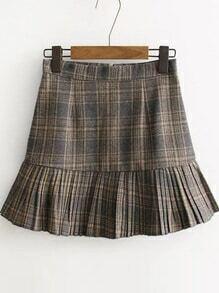 Khaki Plaid Ruffle Hem Skirt