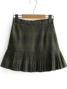 Army Green Plaid Ruffle Hem Skirt