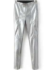 Silver Zipper Detail Seam Skinny PU Pants