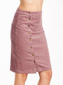 Pink Single Breasted Corduroy Pocket Pencil Skirt